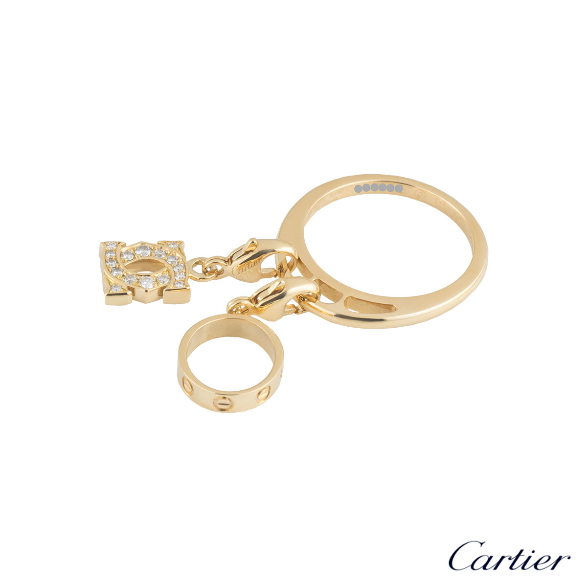 Cartier Yellow Gold Diamond Charm Ring